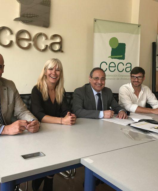 Foto de familia de la firma del convenio entre Baldosas Amarillas y la CECA